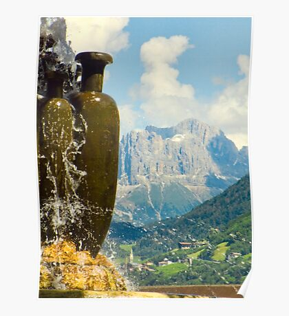 Fountain with the Dolomites beyond Poster