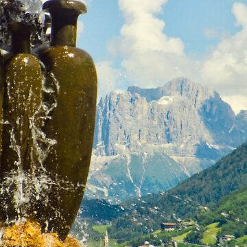 Fountain with the Dolomites beyond by leemcintyre