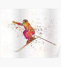 Woman skier skiing jumping 03 in watercolor Poster