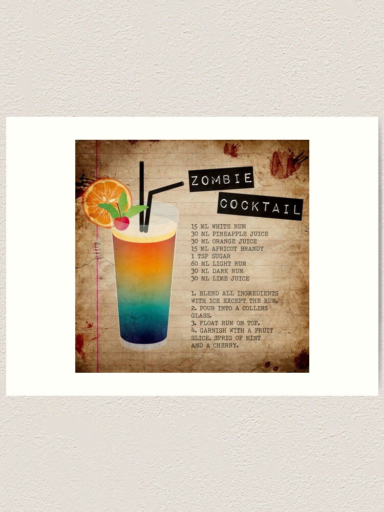 Zombie Cocktail Recipe Art Print By Lisa86f Redbubble