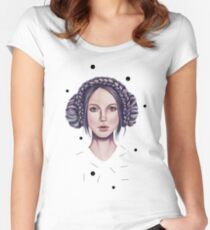 Girl with purple hair braid Women's Fitted Scoop T-Shirt