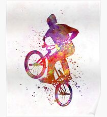 Man bmx acrobatic figure in watercolor Poster
