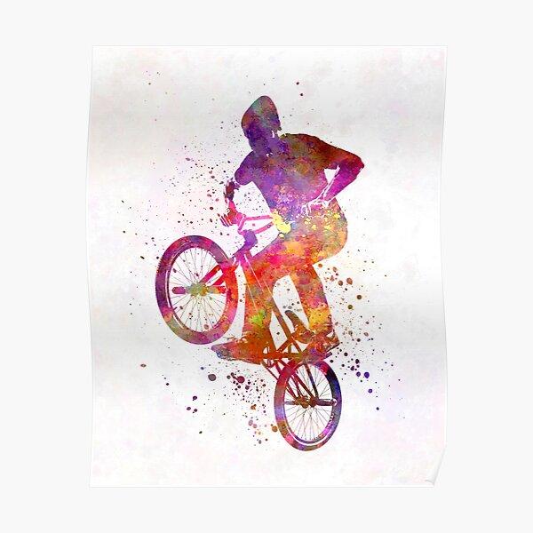 Figure acrobatique homme bmx à l'aquarelle Poster