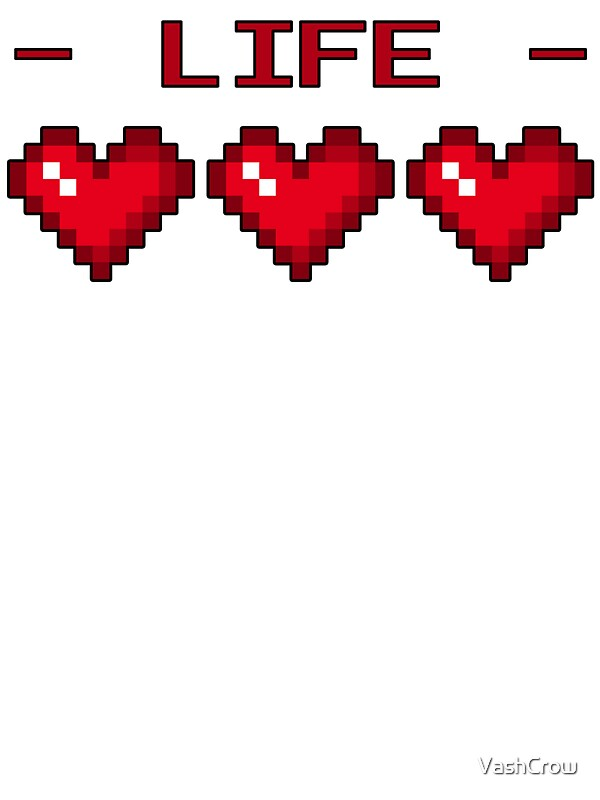 8 Bit Heart Containers Full Stickers By Vashcrow