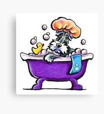 Schnauzer Bath Time Canvas Print