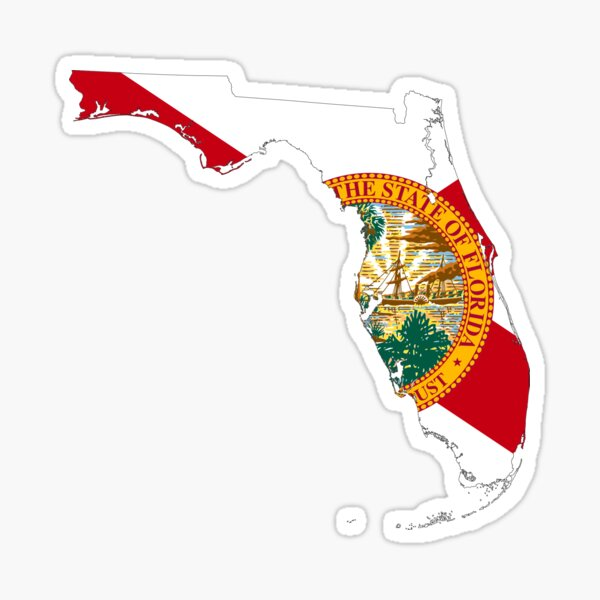 Flag Map of Florida  Sticker