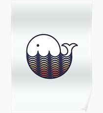 Whale in sunset waves Poster