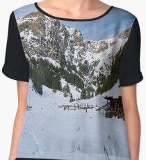 Mountain landscape on wintertime Women's Chiffon Top
