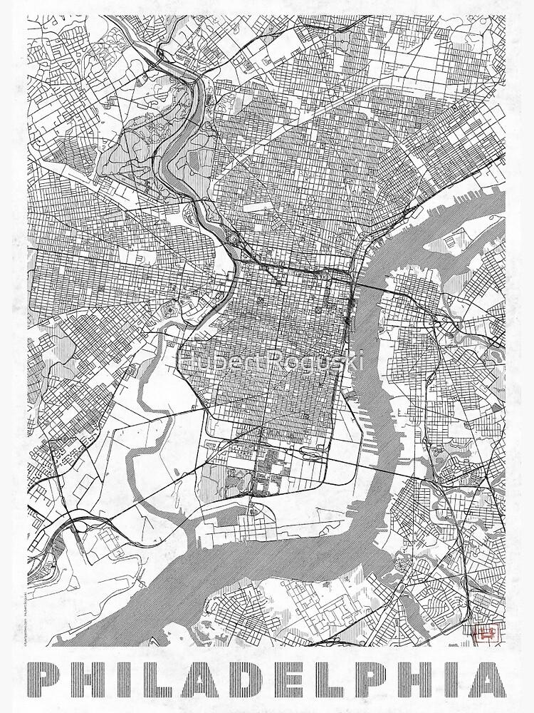 Philadelphia City Map Line by HubertRoguski