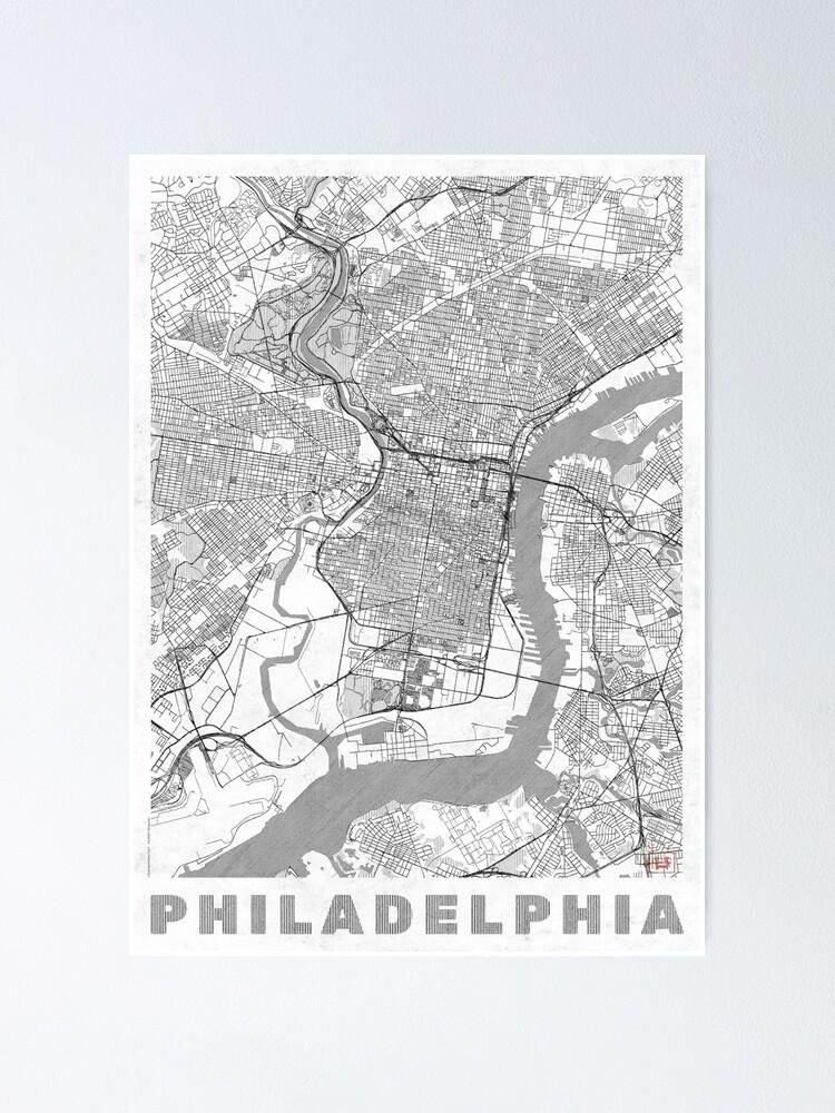 Alternate view of Philadelphia City Map Line Poster