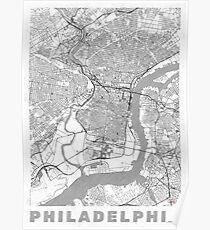 Philadelphia City Map Line Poster