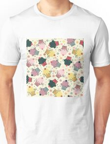 Cute Colorful Cupcakes Pattern, Beige Background T-Shirt