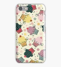 Cute Colorful Cupcakes Pattern, Beige Background iPhone Case/Skin