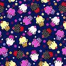 Cute Colorful Cupcakes Seamless Pattern-Purple Tint by artonwear