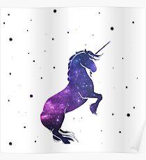 Galaxy Unicorn Drawing Posters Redbubble