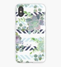 Green colorful succulent Echeveria seamless vector design print iPhone XS Case