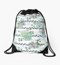 Green colorful succulent Echeveria seamless vector design print Drawstring Bag