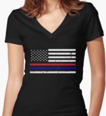 Thin Blue Red Line Flag Women's Fitted V-Neck T-Shirt