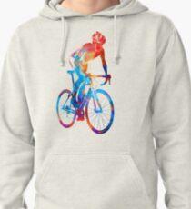 Woman triathlon cycling 06 Pullover Hoodie