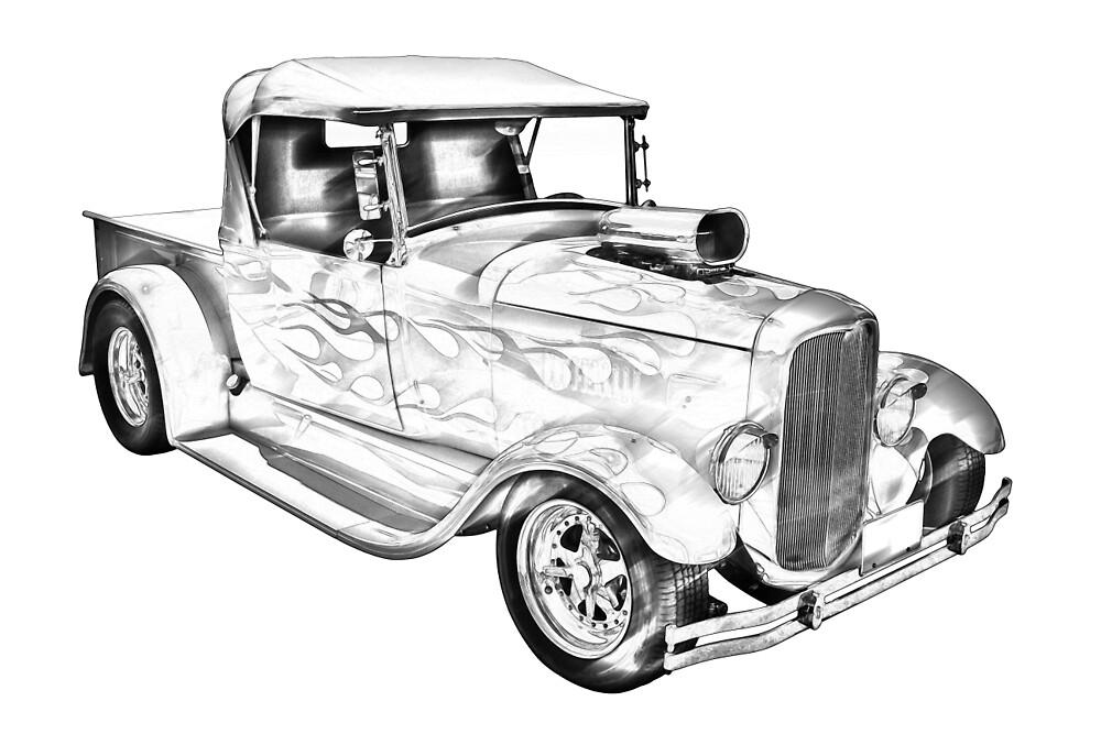 Model A Ford Pickup Hot Rod Illustration by KWJphotoart