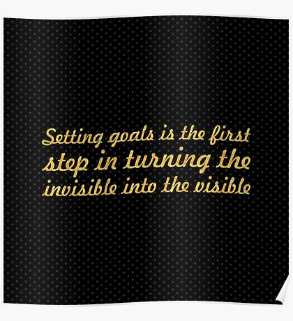 "Setting goals is the first... ""Tony Robbins"" Inspirational Quote Poster"