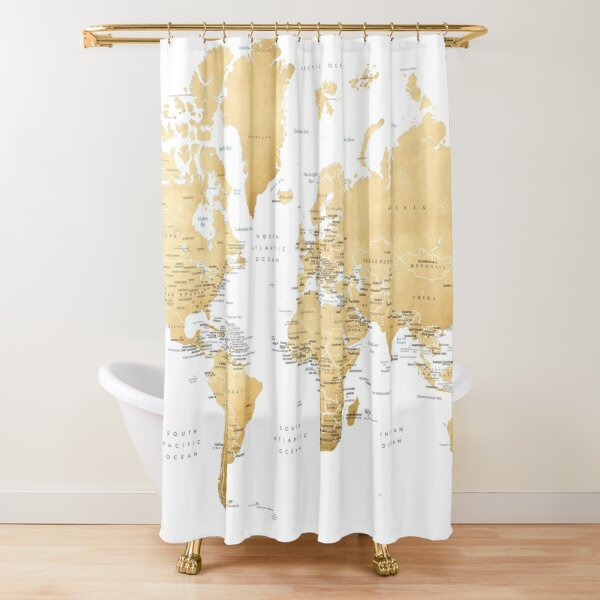 Ochre gold world map with country capitals Shower Curtain