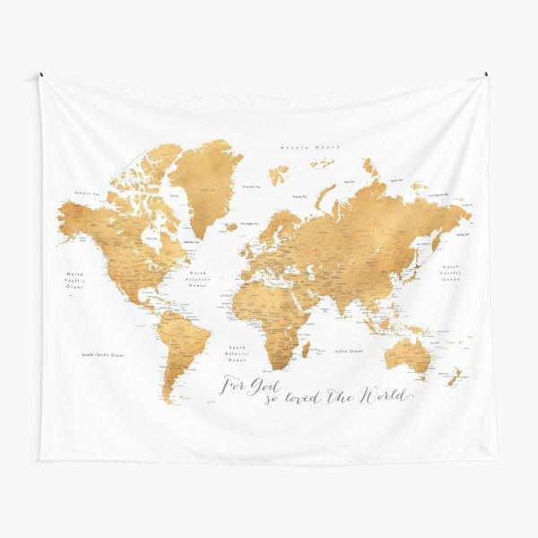 For God so loved the world, world map in ochre Tapestry
