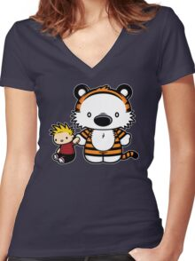 Hello Tiger Women's Fitted V-Neck T-Shirt