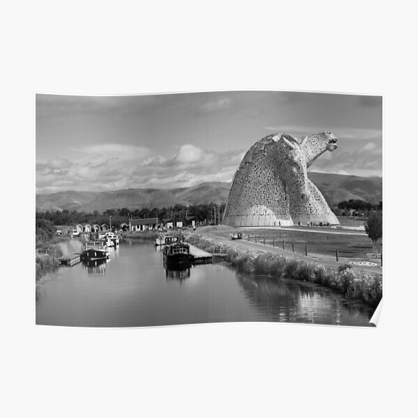 The Kelpies in Falkirk Black and White Poster