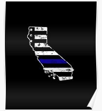 California Thin Blue Line Police Poster
