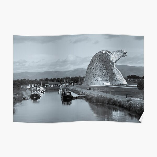 The Kelpies in Falkirk in Black and White Selenium tone Poster