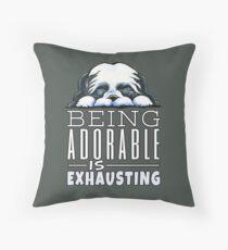 Shih Tzu Being Adorable (Dark) Throw Pillow