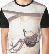 Black Widow Spider Watercolor Graphic T-Shirt