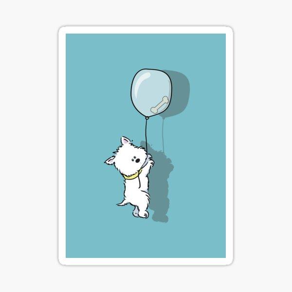 Westie Hangs on for that Bone Sticker