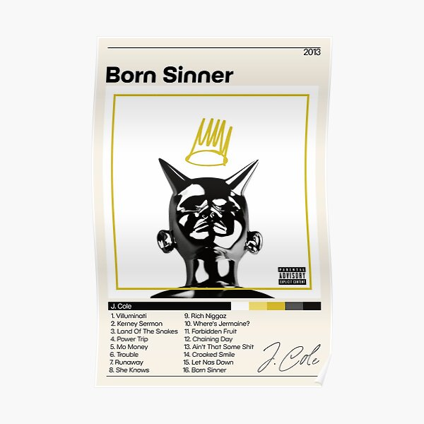 J. Cole Poster   Born Sinner Poster   J Cole Tracklist   Album Cover Poster   Poster Print Wall Art   Custom Poster   Home Decor Poster
