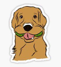 Spielerischer goldener Apportierhund Sticker