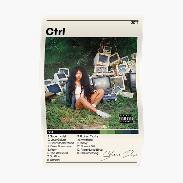 SZA Poster | CTRL Poster | SZA Ctrl Tracklist | Solana Rowe | Album Cover Poster | Poster Print | Wall Art | Home Decor Poster
