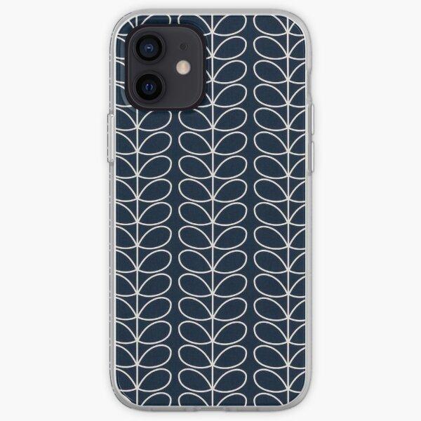 linear stem design, navy blue, white  iPhone Soft Case