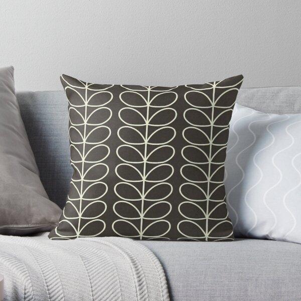 linear stem design, charcol black, white  Throw Pillow
