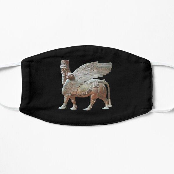 ASSYRIA. ASSYRIAN. Human headed winged bull. Lamassu Statue. On Black. Flat Mask