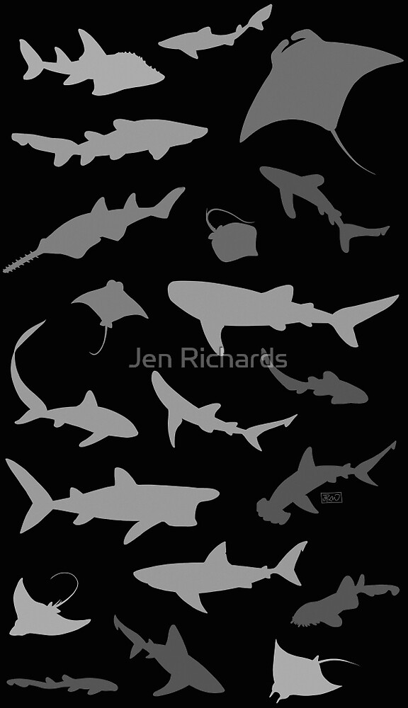 Sharks and Rays: Dark version! by Jen Richards
