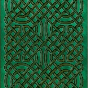 Celtic Knotwork on Green Texture by chromedreaming