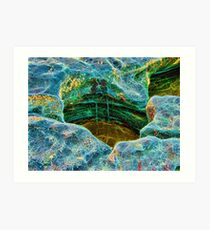 Abstract rocks with barnacles and rock pool Art Print