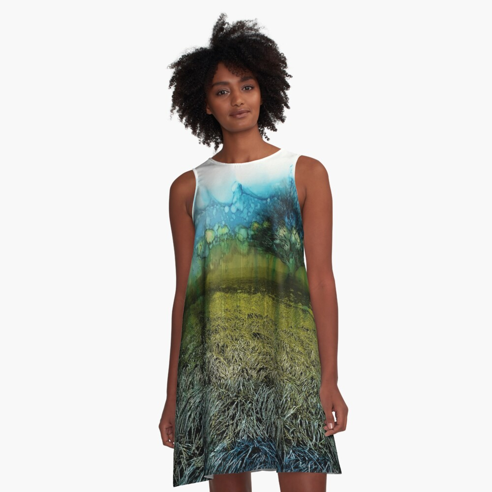 watercolor, The Green Tree - watercolor, alcohol ink A-Line Dress Front