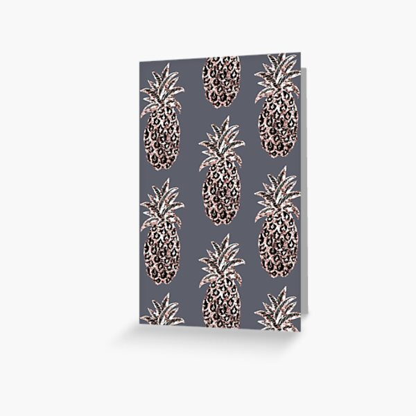 Rose Gold Sparkle Pineapple on gray Greeting Card