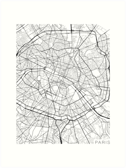 Paris Map France Black And White Art Prints By Mainstreetmaps