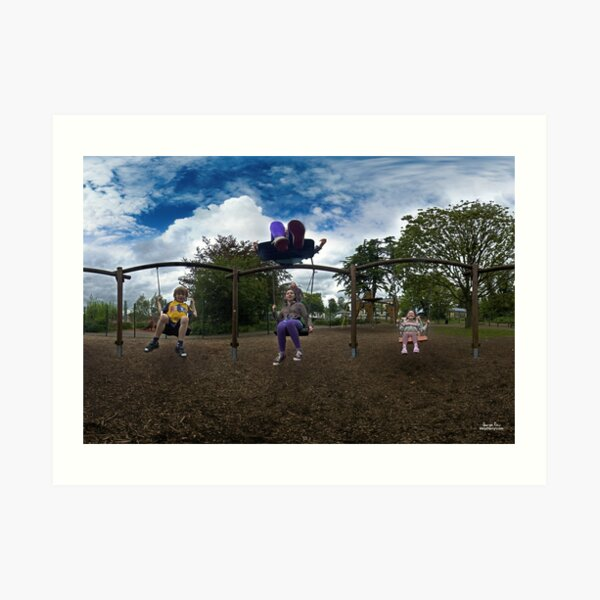 3  Kids on a Swing Art Print