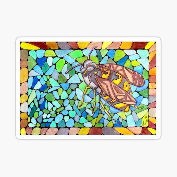553 - A WASPISH DESIGN - DAVE EDWARDS - COLOURED PENCILS - 2021 Sticker