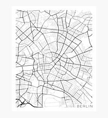 Berlin Map, Germany - Black and White Photographic Print