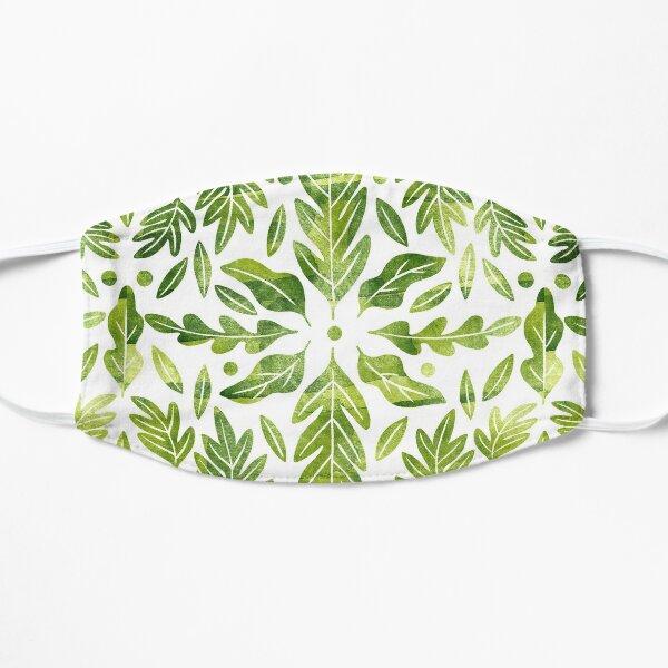 Grüne Aquarellblätter symmetrisches Muster Flache Maske